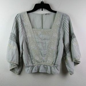 American Eagle Boho Lace Kimono Sleeve Crop Top